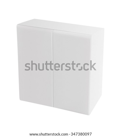 white wooden doors of modern cupboard on white background - stock photo