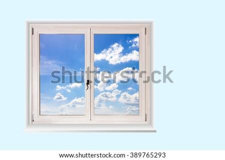 white wooden double door window - stock photo