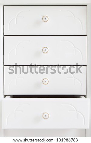 White wooden drawers. - stock photo