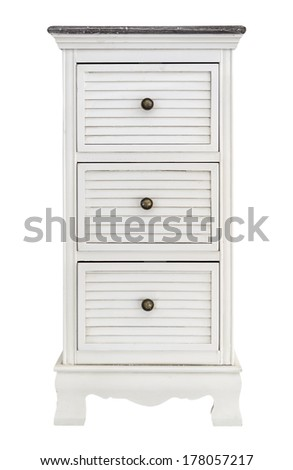 White wooden drawers cabinet vintage style, isolated on white - stock photo