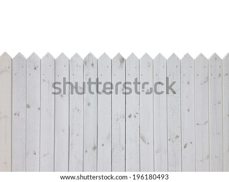 White wooden fence isolated on white background with copy space - stock photo