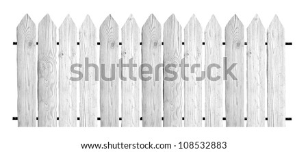 White wooden fence on white background - stock photo