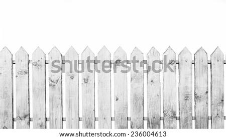 White wooden fence on white background  - stock photo
