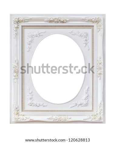 white wooden frame isolated with clipping path - stock photo