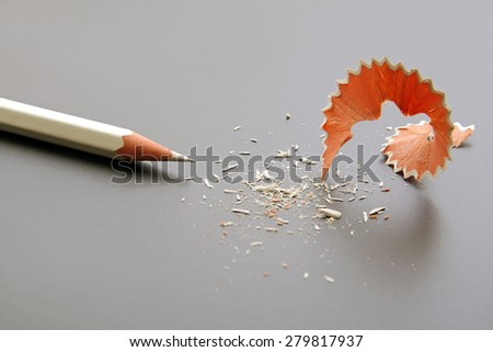 White wooden pencil with sharpening shavings, isolated on gray.Studio shot.  - stock photo