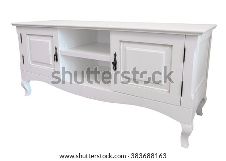White wooden tv stand furniture isolated on white background - stock photo