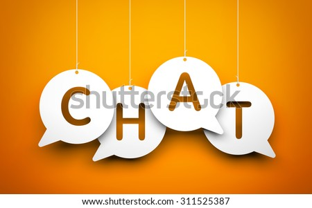 White word Chat suspended by ropes on blue background - stock photo