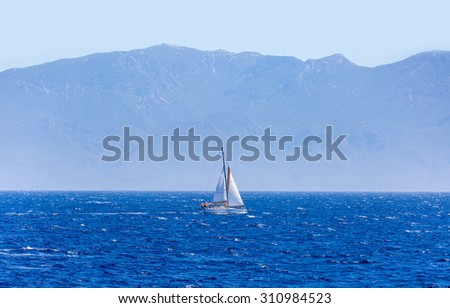 White yacht in sea bay of Bodrum - stock photo