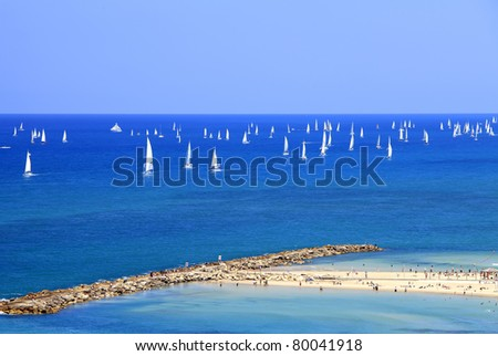 White yachts in Mediterranean sea at coast of Tel-Aviv (Israel) - stock photo