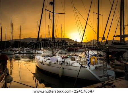 White yachts in the bay of Athens, Greece. - stock photo