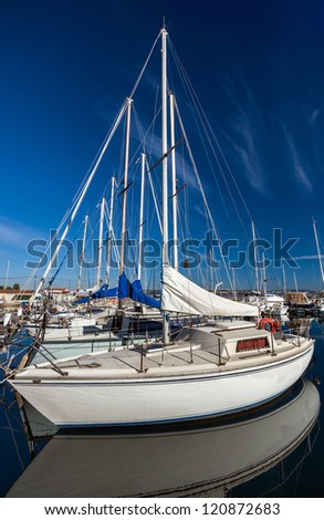 White yachts on an anchor. France. Marseille. - stock photo