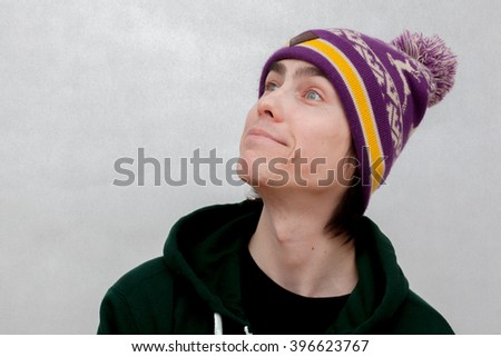 white young man with a silly expression - stock photo