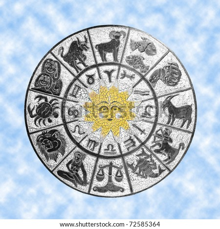 White zodiac wheel with clipping path included - stock photo