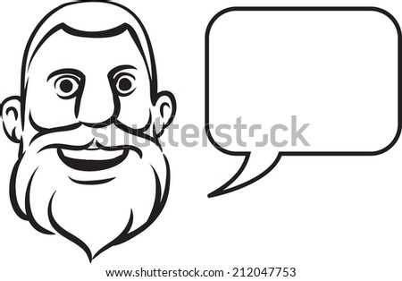 whiteboard drawing - bearded face with speech bubble - stock photo