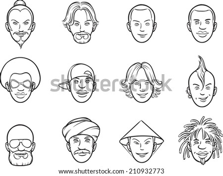 whiteboard drawing - cartoon avatar eccentric faces - stock photo