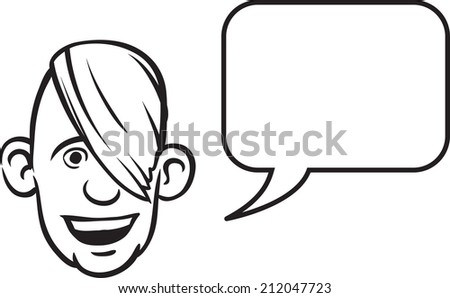 whiteboard drawing - cartoon face with speech bubble - stock photo