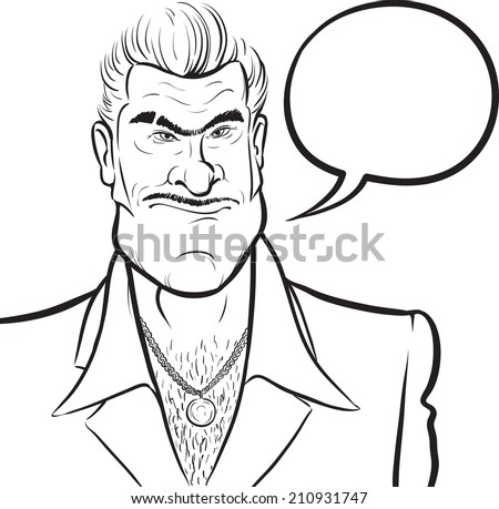 whiteboard drawing - cartoon mafia man with speech bubble - stock photo