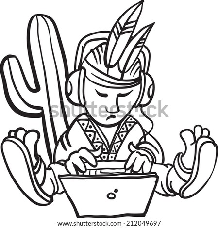whiteboard drawing - cartoon mexican character with laptop - stock photo