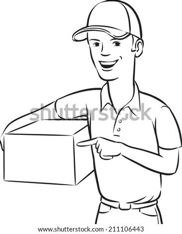 whiteboard drawing - delivery man smiling with box - stock photo