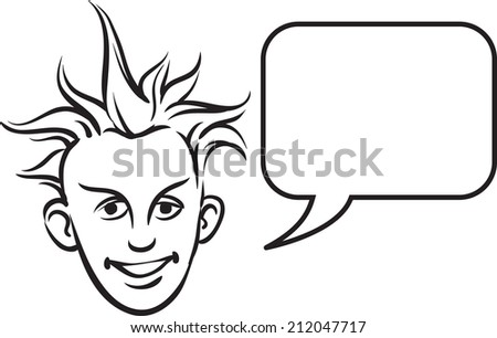 whiteboard drawing - punk blond face with speech bubble - stock photo