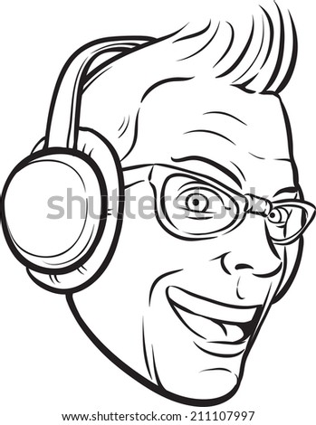 whiteboard drawing - punk with headphones - stock photo