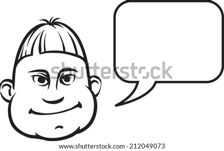 whiteboard drawing - silly face with speech bubble - stock photo