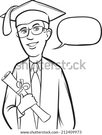 whiteboard drawing - standing smiling graduate - stock photo