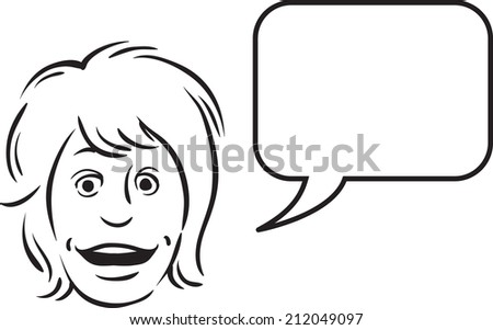 whiteboard drawing - surprised face with speech bubble - stock photo