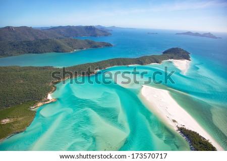 Whitehaven Beach in the Whitsundays Australia - stock photo
