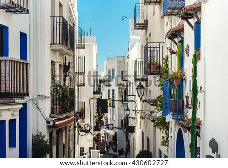 Whitewashed houses of Peniscola. Costa del Azahar, province of Castellon, Valencian Community. It is a popular tourist destination in Spain - stock photo