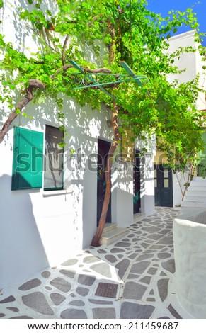 Whitewashed narrow streets of Naxos chora, Naxos island, Cyclades archipelago, Greece - stock photo