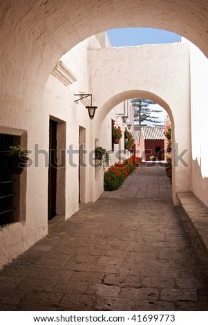 Whitewashed Street at Santa Catalina Monastery in Arequipa, Peru - stock photo