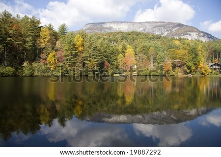 Whitewater Falls in North Carolina during the Autumn Season - stock photo