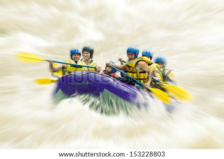 WHITEWATER RAFTING BLURRED IN POST PRODUCTION  - stock photo
