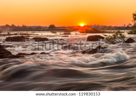 Whitewater rapids at Victoria Falls, Livingstone, Zambia - stock photo
