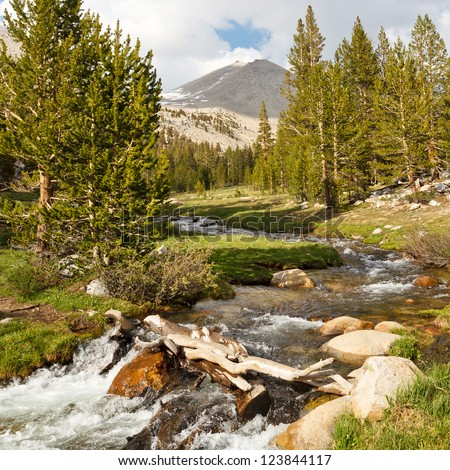 Whitney Creek - Beautiful alpine stream west of Mount Whitney, Sierra Nevada, California, USA - stock photo