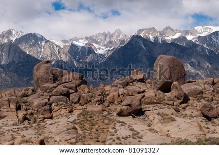 Whitney range, Sierra Nevada mountains seen from the Alabama Hills, California. - stock photo