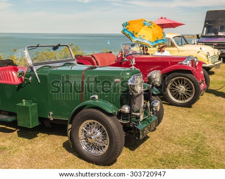 Whitstable, UK, 2nd August 2015.  Vintage Rolls Royces are on display for visitors to Tankerton slopes to enjoy during the classic car motor show in Whitstable, Kent. - stock photo