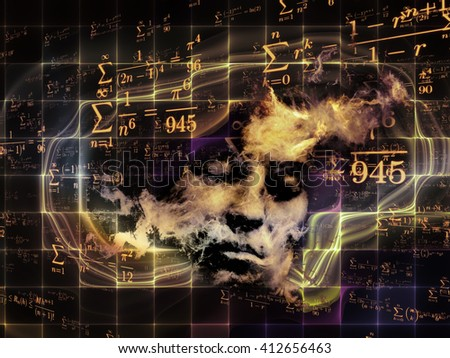 Who Are We series. Design composed of surreal human portrait, fractal and mathematical patterns as a metaphor on the subject of philosophy, religion, math, science, technology and education - stock photo