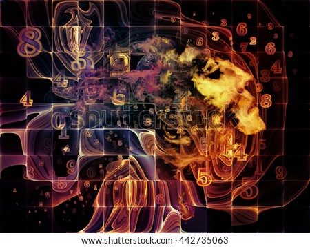 Who Are We series. Visually pleasing composition of surreal human portrait, fractal and mathematical patterns for works on philosophy, religion, math, science, technology and education - stock photo