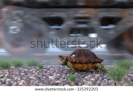 Who's faster. Railway track and train with running turtle. Travel  technology concept  - stock photo