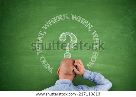 Who what where when why how on green blackboard - stock photo