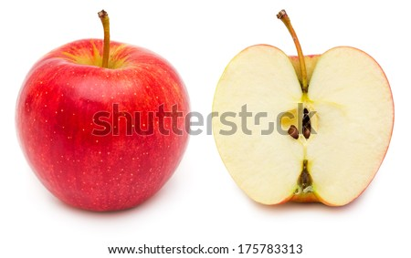 Whole and cross section of red apple, showing pips, and core. Isolated on white background. - stock photo