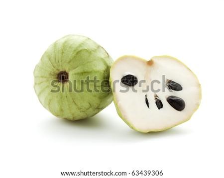 whole and half Cherimoya fruit isolated on white - stock photo