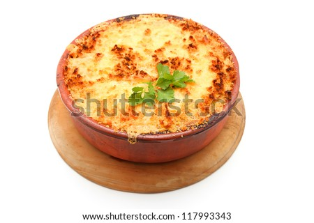 Whole Cottage Pie isolated on white - stock photo