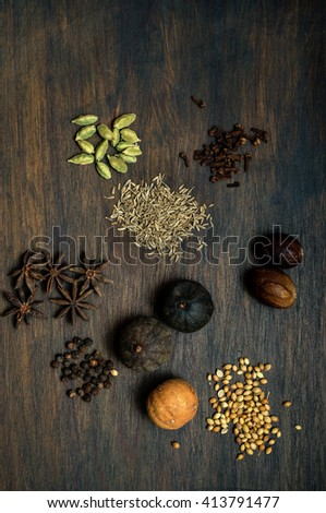 Whole dried Middle eastern mix spice ingredients. - stock photo