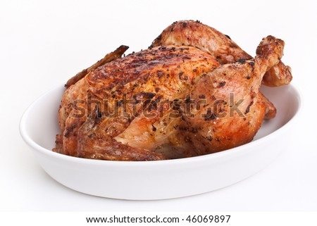 whole golden roasted chicken - stock photo