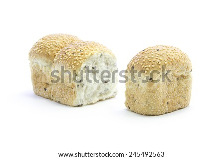 Whole grain bread row split ingredient on white background - stock photo