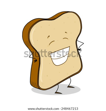 Whole Grain Bread Slice; Bread slice cartoon - stock photo