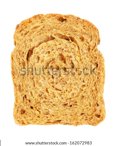 whole grain bread slice, isolated on white - stock photo